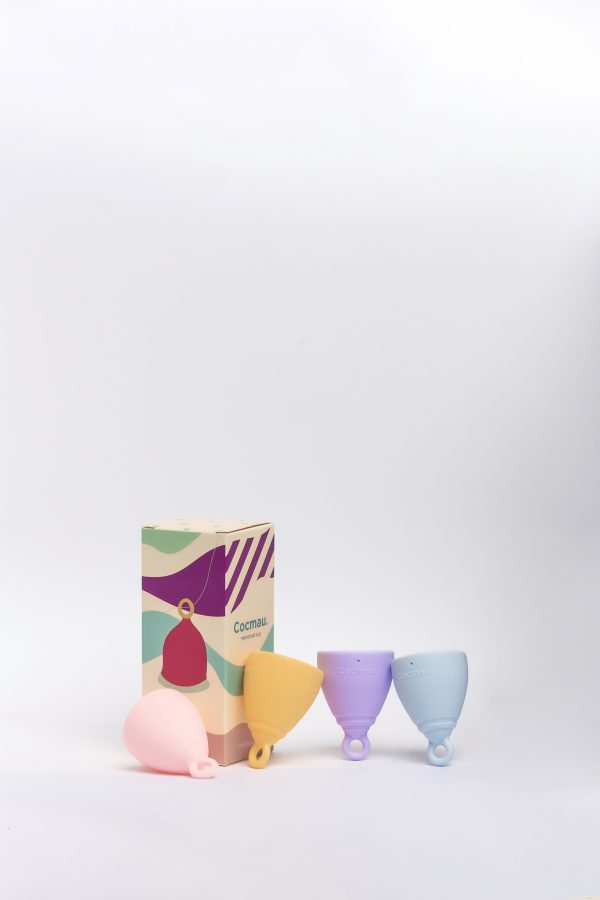Cocmau Menstrual Cup in four colors with packaging box