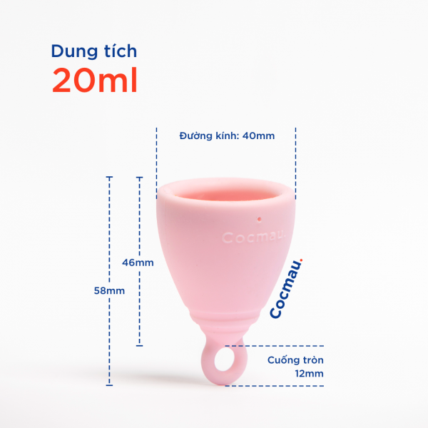 Kích thước cốc nguyệt san Cocmau hồng
